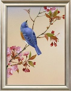 Blue Bird on Cherry Blossom Branch Premium Poster at Art.com