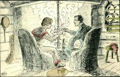 Julekort Othar Holmboe, peiskos på hytte. Brukt 1908-09. Utg Gukild