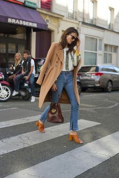 Put a 2016 spin on a 60s inspired look with open toe mules, denim flares, embroidered blouse and camel coat. Feel the love man! #Mylifemeystyle