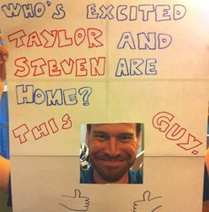 """The best """"airport welcome home"""" sign ever! Great for siblings that may be missing the airport return Funny Welcome Home Signs, Airport Welcome Signs, Funny Signs, Welcome Back Sign, Missionary Homecoming, Homecoming Signs, Missionary Mom, Homecoming Ideas, Movies Like Love Actually"""
