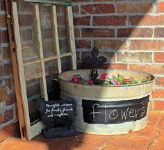 Wash Tub Flower Planter - added a vintage window that I had.