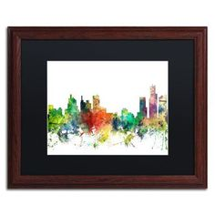 Trademark Fine Art 'Detroit Michigan Skyline SP' Matted Framed Art by Marlene Watson