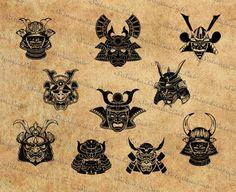 Digital SVG PNG samurai mask, samurai helm, samurai armor, clipart,vector,silhouette,instant download