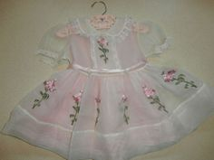 Vintage Baby Toddler Easter Spring Dress Sheer Embroidered Roses 1950s - 1960s