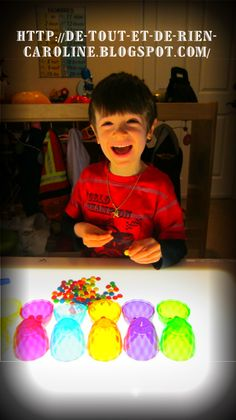 Sorting, Skittles and clear plastic eggs