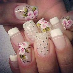 Beautiful Nails for everyday - Hermosas uñas para todos los días. Nail Art Designs 2016, French Tip Nail Designs, Elegant Nail Designs, Pretty Nail Designs, Luxury Nails, New Nail Art, Flower Nails, French Nails, Toe Nails