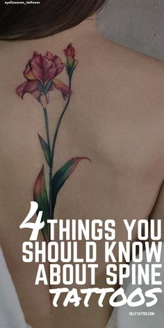 4 Things You Should Know About Spine Tattoos | Body Art - Are you thinking about getting a spine tattoo? They are not the same as back tattoos, as spine tattoos only occupy the length of the backbone. For things to consider before getting inked and a list of inspiring tattoo designs, click here. Self Tattoo | Back Tattoo Women | Tattoo Ideas | Tattoos | Tattoo Ideas for Men | Tattoos for Women | Tattoo Ideas Female | Back Tattoos | Back Tattoo Women Spine | Spine Tattoos Flower Spine Tattoos, Tiny Flower Tattoos, Birth Flower Tattoos, Meaningful Tattoos For Men, Unique Tattoos For Women, Small Tattoos For Guys, Back Tattoo Women Spine, Shoulder Tattoos For Women, Sleeve Tattoos For Women