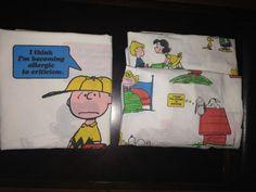 Vintage Peanuts Gang Charlie Brown Snoopy Woodstock Twin Flat Fitted Sheet Set  #Peanuts