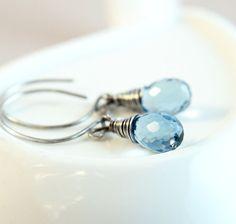 Blue  Quartz Earrings     Oxidized Silver    Gemstone by Hildes