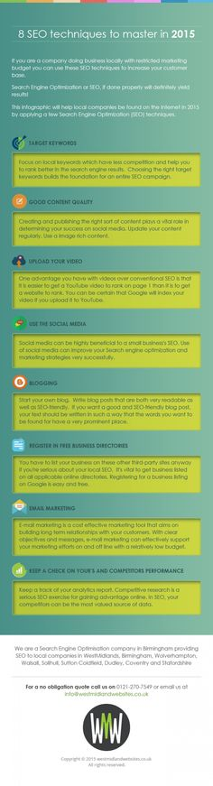 """8 SEO techniques to master in 2015"" from SEO company in Birmingham Infographic"