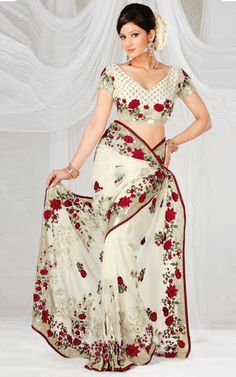 #Designer White Fancy #Saree   Check out this page now :-http://www.ethnicwholesaler.com/sarees-saris