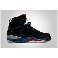 "finest selection 7b77d bb5f1 Air Jordan 60+ ""Detroit"" Black Varsity Red – French Blue   City Gear... ❤  liked on Polyvore featuring shoes"
