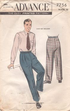 1950s Advance 7756 Mens Pleasted Cuffed Pants Pattern by mbchills