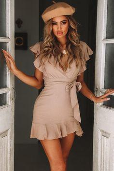 Hidden Figures Frill Tie Up Dress Tan | Hello Molly | Hello Molly