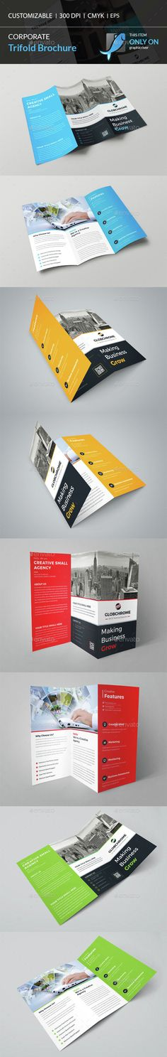 Corporate Trifold Brochure Template Vector EPS, AI. Download here: http://graphicriver.net/item/corporate-trifold-brochure/14972552?ref=ksioks