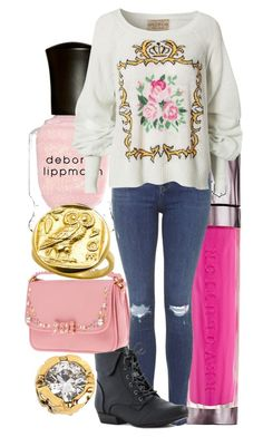 """Fall Pink and Gold Outfit"" by maura-finland-russell on Polyvore featuring Diane Von Furstenberg, Miu Miu, Urban Decay, Deborah Lippmann, Topshop, Wildfox, Pink and fall2015"