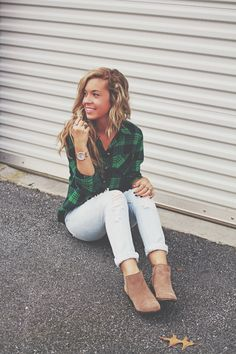 Plaid + distressed jeans + booties. On the blog!  Visit at www.herlovelystyle.com