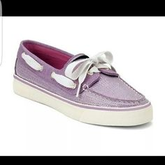 🔴 SPERRY BAHAMA PURPLE 2 Eyed Boat Shoes Bahama Sequins raises the original Sperry Top-Sider boat shoe to a bolder profile.   Featuring a sequin covered canvas upper, contrasting stitching accents, & a moc-style toe, this sporty slip-on is a summer style you'll want to live in year-round. Full of relaxed touches like the laced sides and a lace-up front with metal logo eyelets & contrasting laces, this ultra-comfortable shoe also boasts soft fabric lining & a cushioned insole. Sperry…