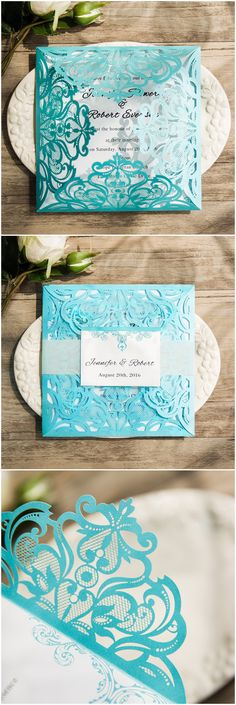 Tiffany blue themed laser cut wedding invitations with free rsvp cards ewws115 @elegantwinvites