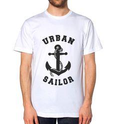 White Logo T-Shirt. Urban Setting, Helsinki, Stockholm, Wander, Sailor, Paris, Facebook, Mens Tops, Cotton