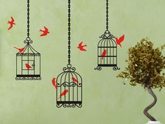 Birdcage Wall Decals set of 3 style 2 - 3 birdcages with 10 birds