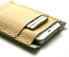 Yellow leather iPhone case  cell phone sleeve by FatCatLeather, $34.00