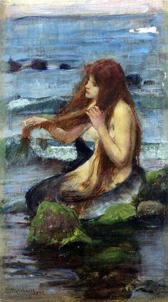 John William Waterhouse (1849 -1917), study done in 1895. His famous painting of a mermaid sitting similarly to this study was done in 1900.