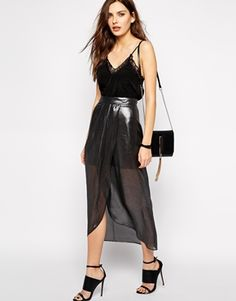 Enlarge BCBGeneration Maxi Skirt with Pleated Wrap in Metallic
