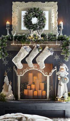 Gorgeous Christmas Fireplace Decor and Design Ideas Christmas Fireplace, Christmas Mantels, Noel Christmas, Winter Christmas, Christmas Crafts, Victorian Christmas, Pink Christmas, Cozy Fireplace, Vintage Christmas