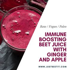 Adding ginger and beets to your diet can do wonders for your immune system! Plus - the combination of earthy beets, sweet and tart apples, spicy ginger, and a splash of citrus is a delightful combination of flavors. Ginger Juice, Fresh Ginger, Juice Smoothie, Smoothie Recipes, Fresh Beets, Tart Taste, Lime Recipes, Beetroot, Raw Vegan