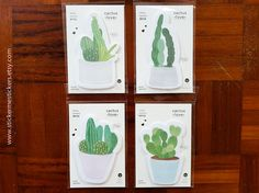 You will receive ONE pad of cute succulent sticky notes.  Please select which design you want by referring to the second photo  The entire pad measures 5.5 X 6 cm and contains a total of 30 sheets.  These sticky notes are totally kawaii and would make the process of organising your loose sheets of papers so much more fun! You can also use them to as bookmarks, or gift them to your best friend! They make perfect gifts for EVERYONE, regardless of age!  Please let me know if you have any…