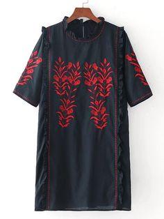 Vestido de volante con bordado de flor-Spanish SheIn(Sheinside)