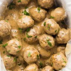 Swedish Meatballs Crockpot Easy, Swedish Meatball Recipes, Frozen Meatball Recipes, Crock Pot Meatballs, Meatballs And Gravy, The Recipe Rebel, Crockpot Recipes, Cooker Recipes, Pork Recipes