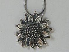 """SHABLOOL ISRAEL Handcrafted 18"""" Sterling Silver 925 Sunflower Necklace"""
