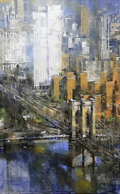 Brooklyn bridge vertical by mark lague oil ~ 48 x 30 brooklyn bridge, find art Skyline Painting, Cityscape Art, City Painting, Oil Painting Abstract, Painting Art, Watercolor Landscape, Landscape Paintings, Modern Painting, 7 Arts