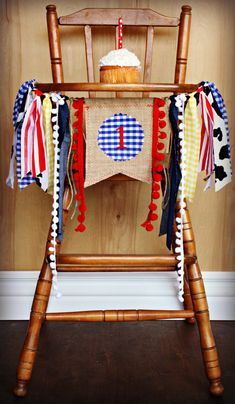 County Fair Inspired Birthay Age HIGH CHAIR by RawEdgeSewingCo, $26.95