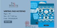 Writing Pad - NotePad A5 Size in Single Line with Center Pinning and Soft cover, and with 20% Off.