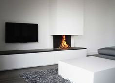 Fireplace and TV concept Living Room Wall Units, My Living Room, Home And Living, Living Room Decor, Modern Fireplace, Fireplace Design, Moving House, Living Room Inspiration, Interior Design Living Room