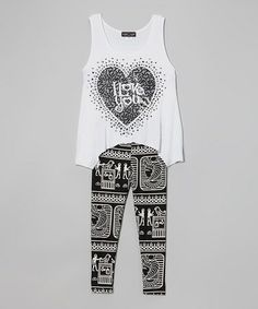 Love this White & Gray 'I Love You' Sidetail Tunic & Capri Leggings by Lori & Jane on #zulily! #zulilyfinds