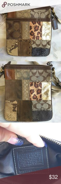 "Coach small patchwork leather crossbody Authentic Coach Patchwork Swingpack Style #: 40915   Multi-colored, (brown, gold, tan) suede, leather and fabric patchwork design exterior, Brown leather trim  Brass clip attachment, The strap has an adjustable 14"" to 23"" drop   Length 7.25"" height 9"" width 1""   Features include Front leather trimmed slip pocket, Top zippered closure.   This bag is in great condition just the rear is dirty see pics.   Pets and smoking free home. Coach Bags Crossbody…"