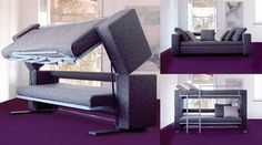 Choosing a bunk bed couch Couch bunk beds are a great solution of you do not have very much space in your lounge room, but you still want a couch that can convert into a bed. Sofa Design, Furniture Design, Furniture Ideas, Couch Bunk Beds, Sleeper Couch, Futon Couch, Sectional Sofa, Bed Ikea, Houses