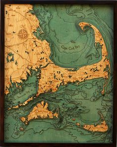 Wooden charts. Incredible.    Laser cut and hand crafted, each bathymetric chart is made from sheets of Baltic birch that are glued together to create visual depth, with certain layers colored blue, and the whole thing laid inside a custom solid-wood frame and protected by a sheet of Plexiglass.