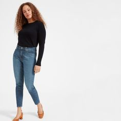 The perfect high-rise jean. Made of premium Japanese denim with just a touch of stretch, this pair is designed with a holds-you-in high rise for a sleek fit. Quite possibly the most flattering jean—ever. Made at the world's cleanest denim factory.