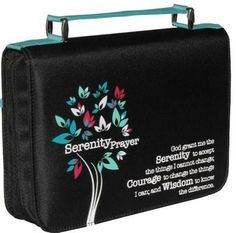 """[""""Black Micro-Fiber \""""Serenity Prayer\"""" Medium Bible cover features screen-printed debossed text, zipped mesh interior pocket, exterior slip pocket, cross zip puller, and a pen loop.Product Details<\/strong>Dimensions: 6 1\/8\"""" x 8 7\/8\"""" x 1 1\/2\""""Screen-printed debossed text\nZipped mesh interior pocket\nExterior slip pocket\nPen loop\nCross zip puller""""] $19.99 Zip Puller, Bible Covers, Serenity Prayer, Sewing Techniques, Screen Printing, Prayers, My Love, Prints, Faith"""