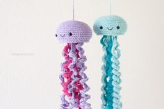 Cute crochet jellyfish to make for a nursery, as a mobile for a sea-themed room, or just for fun for a friend! I promise, they don't sting!