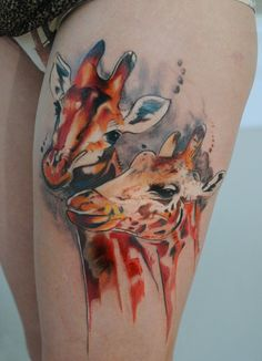 5 Watercolor tattoo giraffe