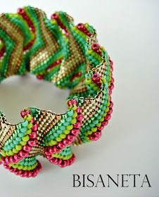 Flat Cellini peyote bracelet by Bisaneta