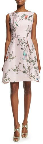 Monique Lhuillier Sleeveless Bird-Print Fit-&-Flare Dress, Pink