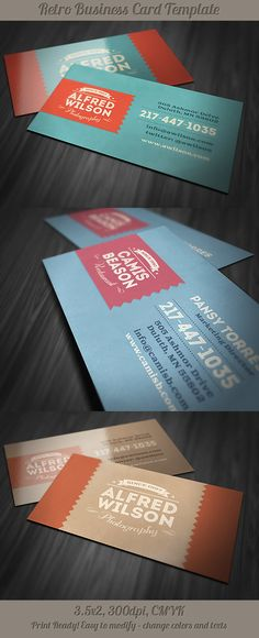 6 Retro Business Cards by Peter Olexa, via Behance