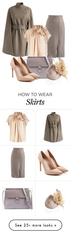 """Dress Me Up in a Taupe Colored Skirt!"" by atenaide86 on Polyvore featuring Chicwish, Alexander McQueen and Philip Treacy"